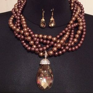 Beautiful multi strand faux pearl necklace